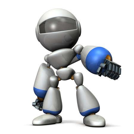 desprecio: Robot mira mientras afectación. imagen generada por ordenador
