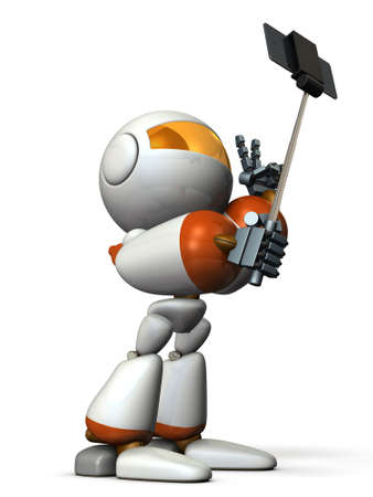 self image: Robot takes himself in self shooting stick. computer generated image Stock Photo
