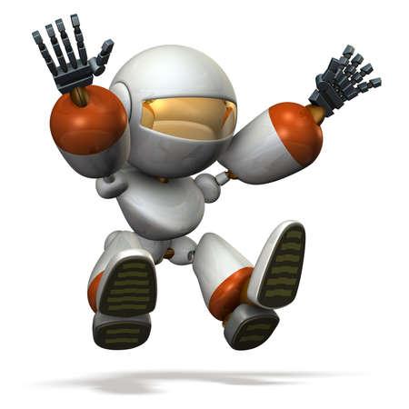 salto de longitud: robot niño juega con el salto de longitud.