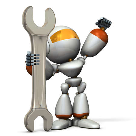 dependable: Robot is having a big tool. It is a symbol of technical capabilities.