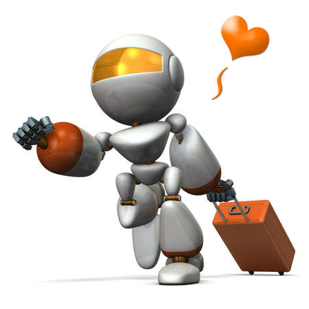 hurried: Cute robot is starting to travel. computer generated image