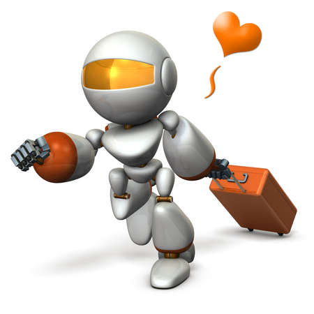 hurried: Cute robot is starting to travel. 3D illustration, Stock Photo
