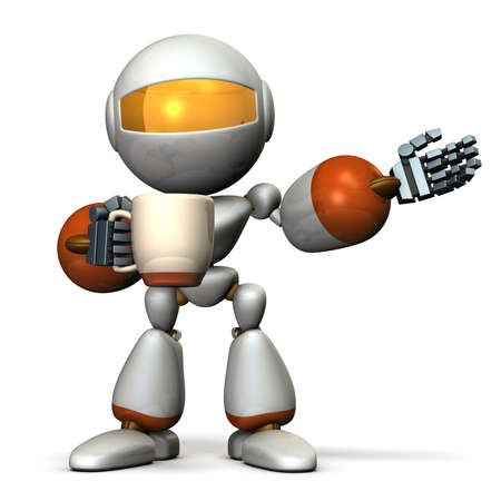 settle: Robot has a greeting while having a cup of coffee in one hand. 3D illustration