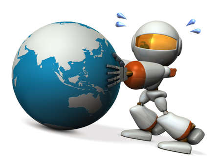 robot with shield: Cute robot protects the Asia. He will prevent the falling. 3D illustration Stock Photo