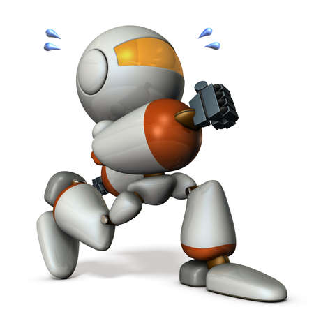 run away: Cute robot has run away secretly. 3D rendering