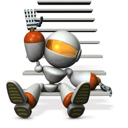beckoning: Robot in the foot of the stairs, are beckoning. 3D illustration