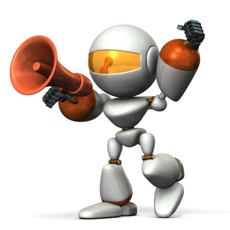 encouragement: Cute robot with a loudspeaker, are cheering. 3D illustration,