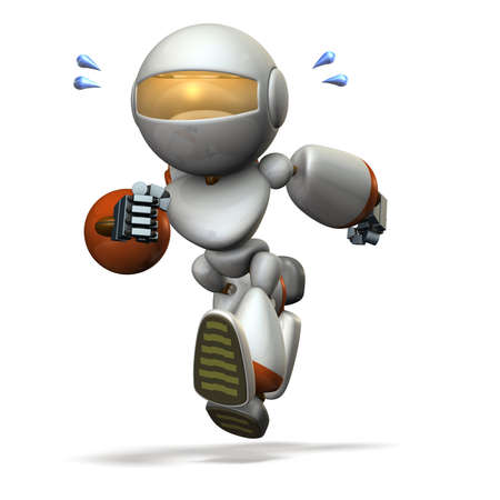 sprinting: Children type robot is running hard. computer generated image. 3D illustration,
