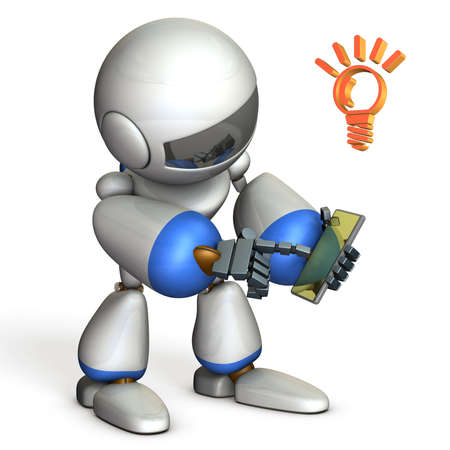 multiplying: Robot is enjoying using the smartphone. 3D illustration Stock Photo