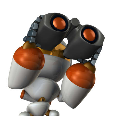 outlook: Cute robot, which overlooks the future using the binoculars.3D illustration, Stock Photo