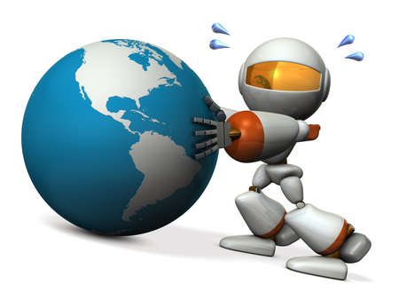 prevent: Cute robot protects earth. He will prevent the falling. 3D illustration Stock Photo
