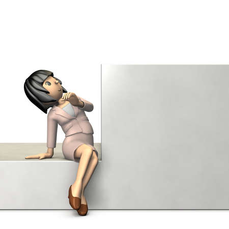 Young woman wearing a suit is looking up at something. 3D illustration, Stock Photo