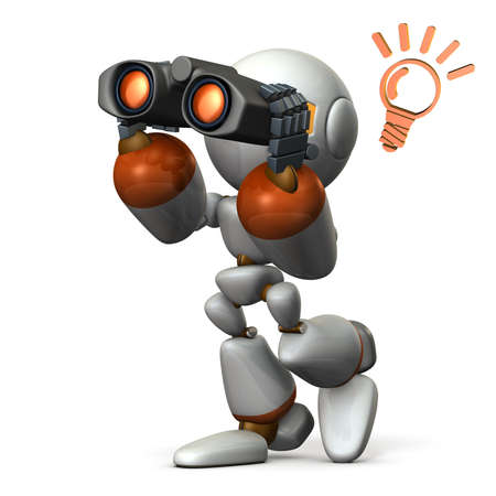 looking for: Robot, looking for something with binoculars. 3D illustration,