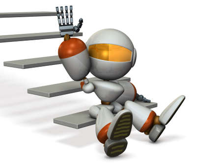 Robot in the foot of the stairs, are beckoning. 3D illustration