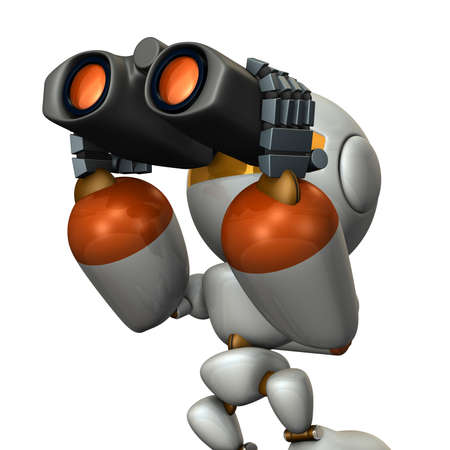 bonne aventure: Cute robot, which overlooks the future using the binoculars.3D illustration, Banque d'images