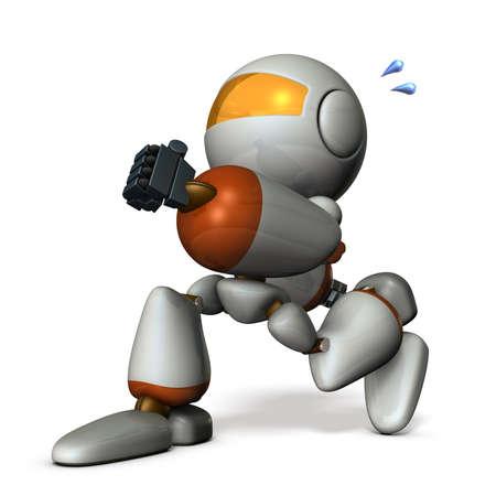 secretly: Cute robot has run away secretly. 3D rendering