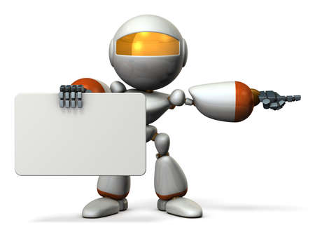 three points: Cute robot with message boards, is pointing. 3D illustration
