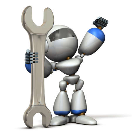 capabilities: Robot is having a big tool. It is a symbol of technical capabilities. 3D illustration Stock Photo