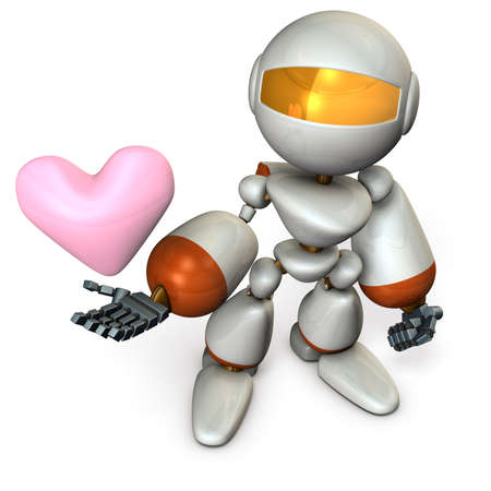 sincere: The cute robot has a sincere heart. 3D illustration Stock Photo
