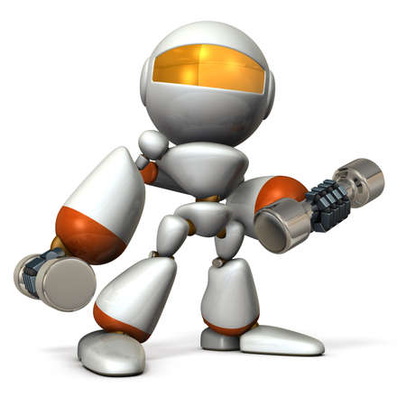 tempered: Cute robot, have tempered the body with dumbbell. 3D illustration, Stock Photo