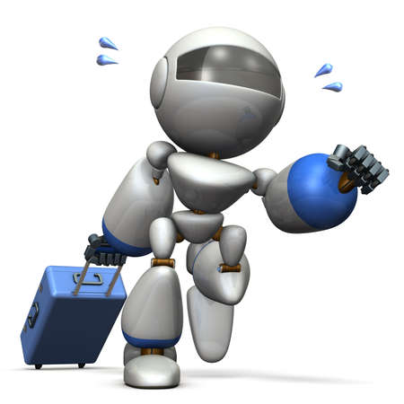Cute robot is starting to travel. 3D illustration, Stock Photo