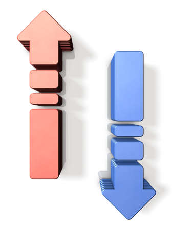 rise fall: One pair of rising arrow and falling arrow. 3D illustration