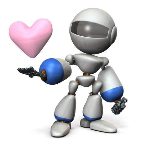 sincere: The cute robot has a sincere heart. 3D illustration,