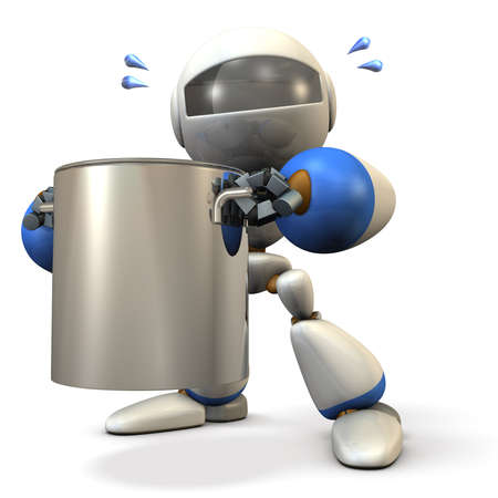 stockpot: Cute robot has a big pot. 3D illustration Stock Photo