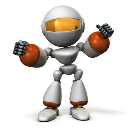 guts: Cute robot have shown guts. 3D  illustration,