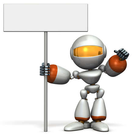 intention: Cute robot has a display intention. 3D illustration,