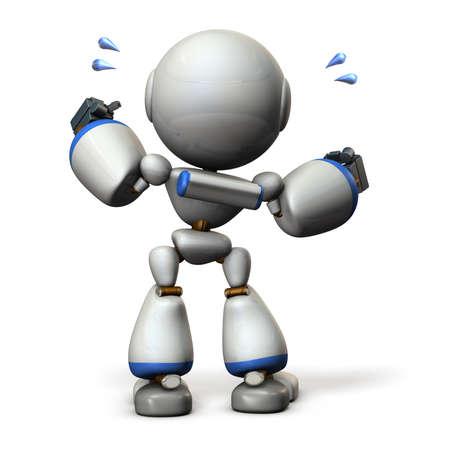 cute robot: Cute robot will cheer hard. 3D illustration, Stock Photo