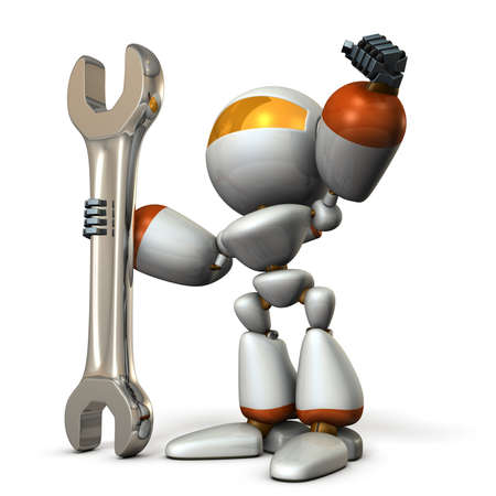 dependable: Robot is having a big tool. It is a symbol of technical capabilities. 3D illustration Stock Photo