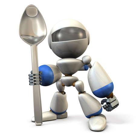3dcg: Cute robot  has a big spoon. 3D  illustration