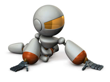 crouch: Cute robot has to surrender. 3D illustration