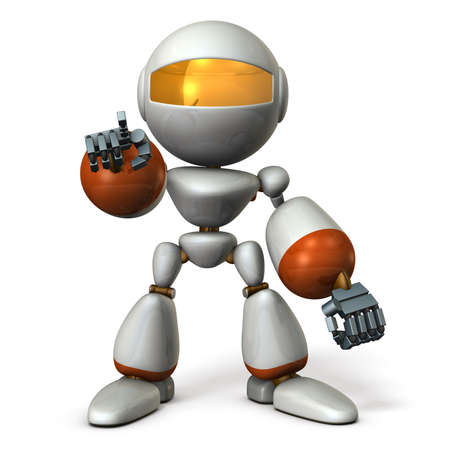 computer instruction: Cute robot will nominate you. 3D illustration Stock Photo
