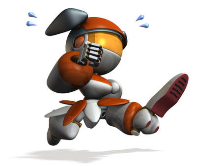high tension: Cute robot is emergency. 3D illustration Stock Photo