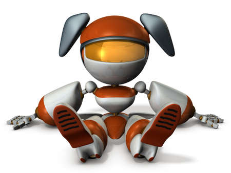 outage: Cute robot had stopped at the dead battery. 3D illustration Stock Photo