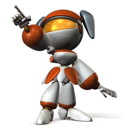 Cute robot was pointing the target. 3D illustration