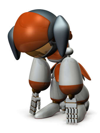 high damage: Battery of cute robot is exhausted. 3D illustration Stock Photo