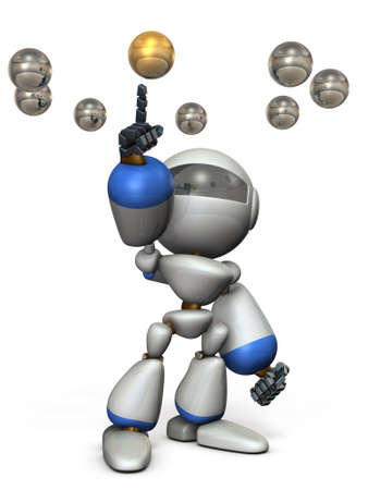 cute robot: Cute robot will select the correct answer. 3D illustration