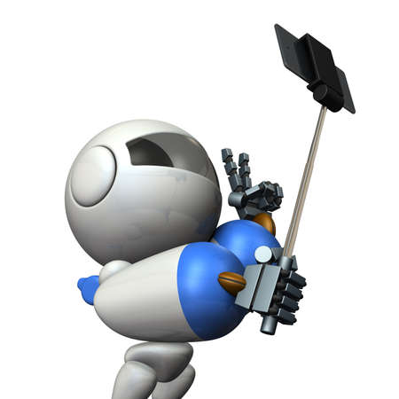 commemorative: Robot takes himself in self shooting stick. 3D illustration
