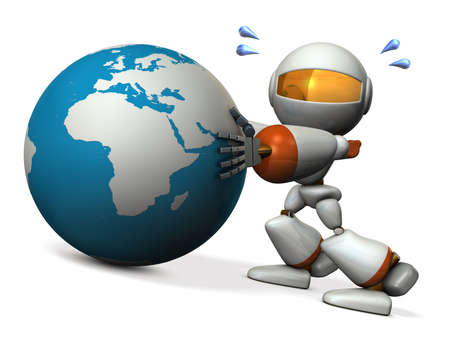 Cute robot protects earth. He will prevent the falling. 3D illustration Stock Photo