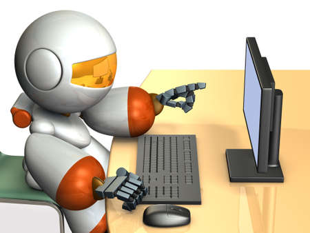 Cute robot is pointing the display of the personal computer. 3D illustration