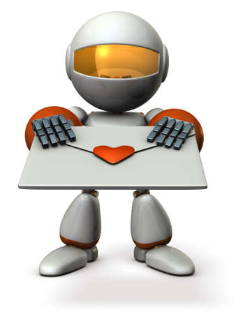 Cute robot that hold out a love letter. 3D illustration Stock Photo