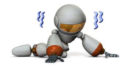 high damage: Cute robot is trembling in despair. 3D illustration