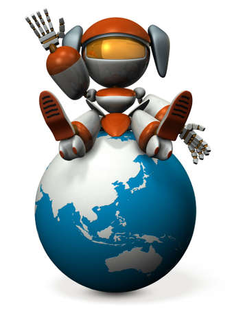 Cute robot invites you to Asia. 3D illustration