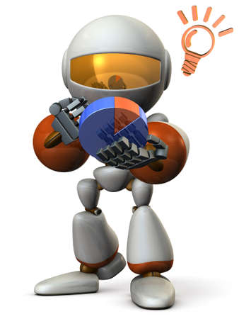 Cute robot strategize with the pie chart. 3D illustration