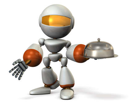 Serving robot. Cloche in its hand.  3D illustration