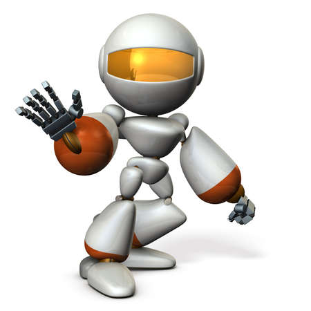 hold high: Cute robot rejects the other. 3D illustration
