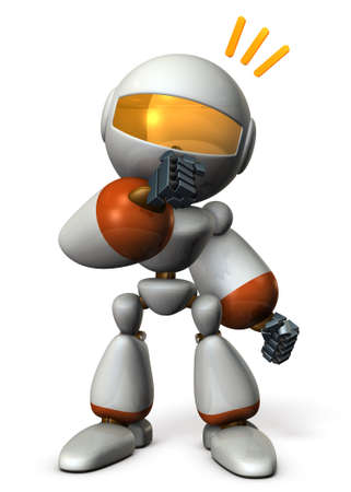 come up to: Cute robot has guessed the real intention of the other. 3D illustration